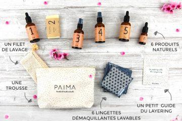Produits de chez Païma beauté avec une trousse, un filet de lavage, 6 produits naturels, 6 lingettes démaquillantes lavables et un petit guide du layering